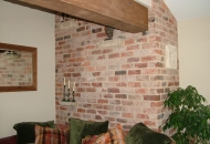Reclaimed bricks used internally as a feature wall
