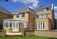 Unique Architecturally designed house, incoporating contrasting bricks, stone & great windows/conservatory/orangerie